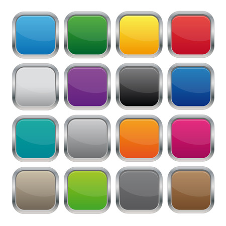 square buttons: Metallic square buttons