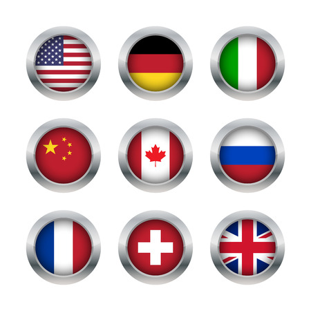 Flag buttons set 1 Vector