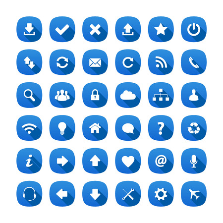 internet buttons: Blue rounded square long shadow style icons