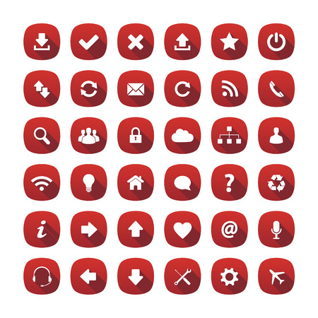 approved icon: Red rounded square long shadow style icons Illustration