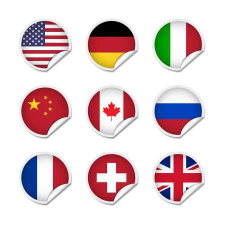 Flag stickers set 1 Vector