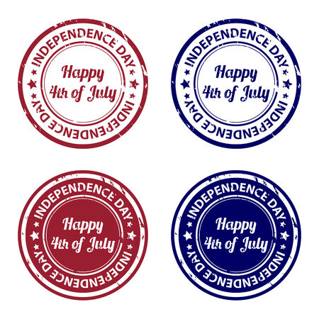 Independence day Happy 4th of july rubber stamps Vector
