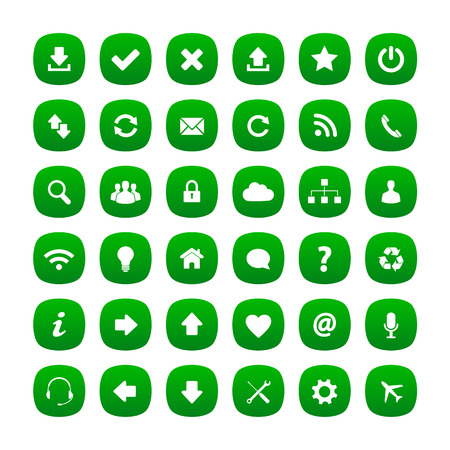 Green rounded square icons Vector