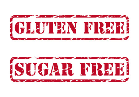 Gluten free and sugar free rubber stamps Vector