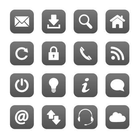 contact icons: Grey web buttons Illustration