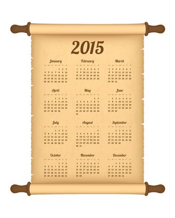 Calendar 2015 on parchment roll Vector