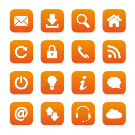 email us: Orange web buttons