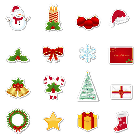 Christmas stickers Ilustrace
