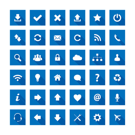 approved icon: Blue long shadow style icons Illustration