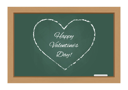 Happy valentines day text with heart drawn on chalkboard
