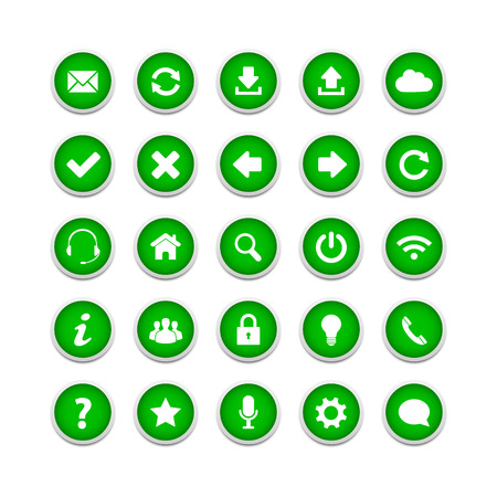 Green round web buttons