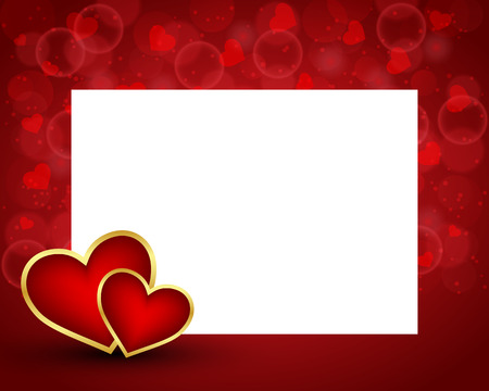 Valentines day background with blank card and two hearts
