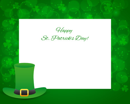 patricks: St Patricks day background with card and hat Illustration