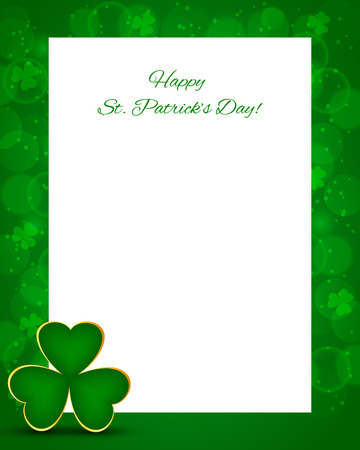St Patricks day background with card and shamrock Illustration