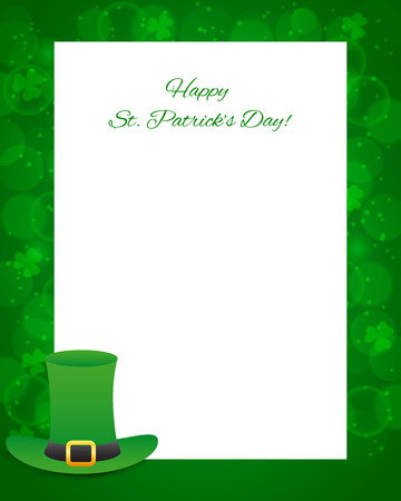 St Patricks day background with card and hat 矢量图像