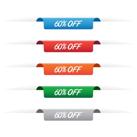 60% off paper tag labels 矢量图像