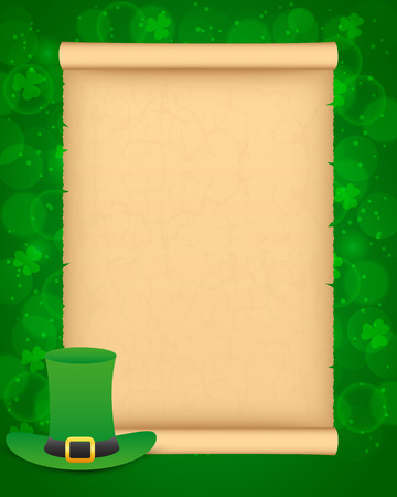 St Patricks day background with parchment and hat
