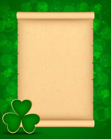 St Patricks day background with parchment and shamrock 矢量图像