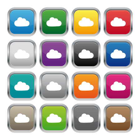 square buttons: Cloud metallic square buttons Illustration