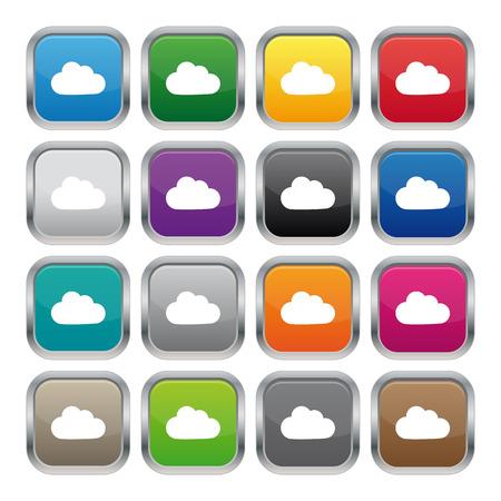 Cloud metallic square buttons 矢量图像
