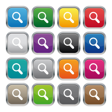 Search metallic square buttons Vector