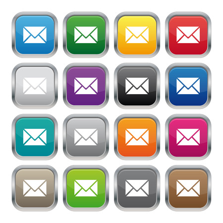 square buttons: Contact us metallic square buttons