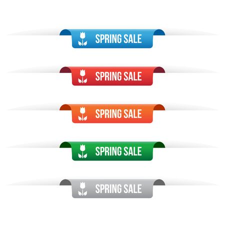paper tag: Spring sale paper tag labels Illustration