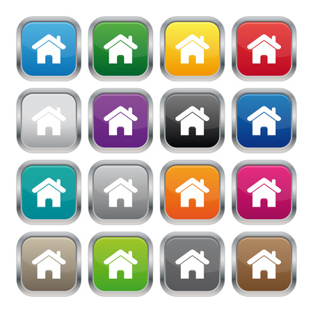 Home metallic square buttons 矢量图像