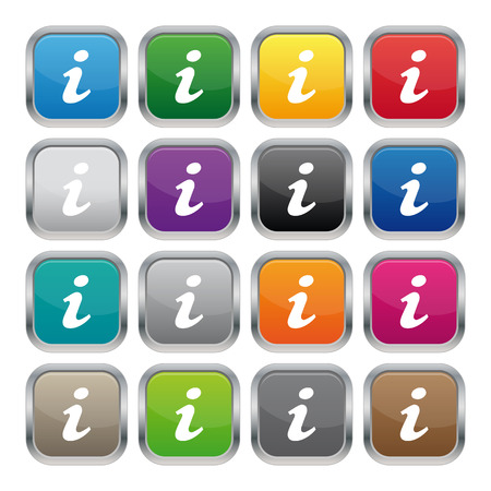 Information metallic square buttons