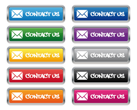 rectangle button: Contact us metallic rectangular buttons
