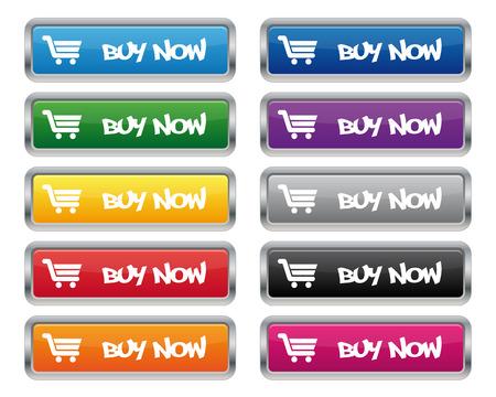 Buy now metallic rectangular buttons Vector