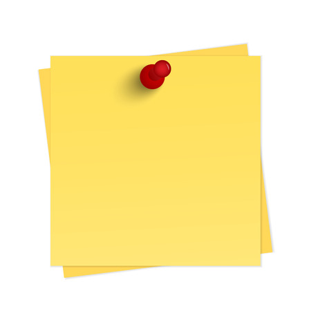 yellow sticky note: Yellow reminder with pin