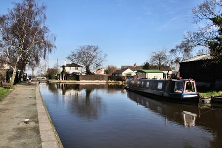 A view of the Whitchurch Canal near Grindley Brook showing Barges