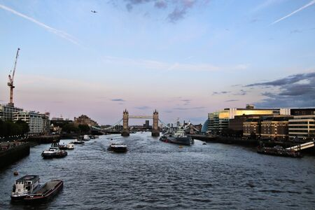 A view of Tower Bridge from the Thames embankment