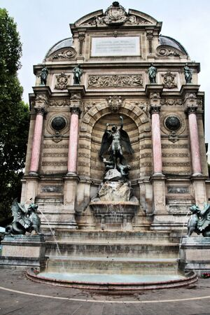 A view of the St Michel Fountain in Paris