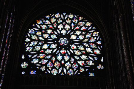A view of the Stained Glass windows in Saint Chappell in Paris