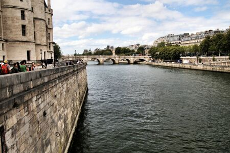 A view looking up the River Seine in Paris Banco de Imagens