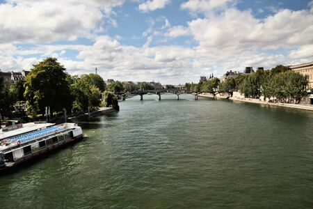 A view looking up the River Seine in Paris