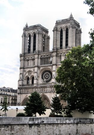 A view of the Notre Damn Cathedral in Paris