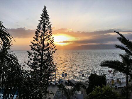 A sunrise over the sea of Gallilee