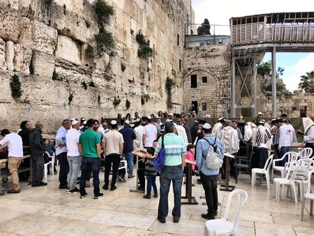 Jews praying at the Western Wall in Jerusalem