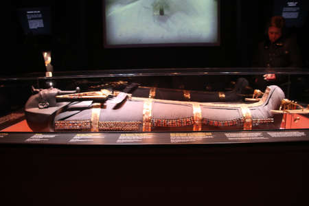 A view of a relic at the Tutankhamun exhibition in Londo in March 2020