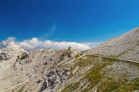 Monument of World War 1 on Mountain Peski, Mountain Krna, Julian Alps, Slovenia