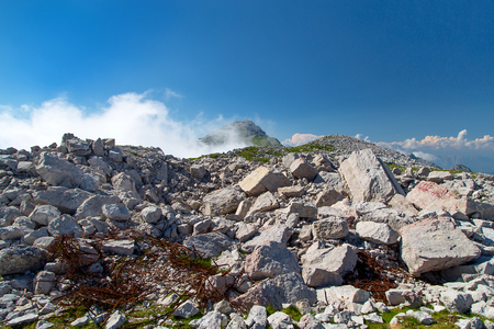 Mine crater of world war one at Alpe mountains, Batognica, Slovenia Stock Photo
