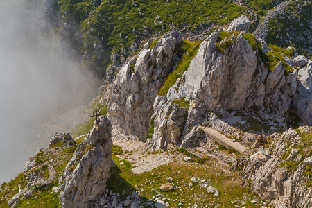 Monument of World War 1 on Mountain Batognica, in the background the top of Mountain Krna, Julian Alps, Slovenia