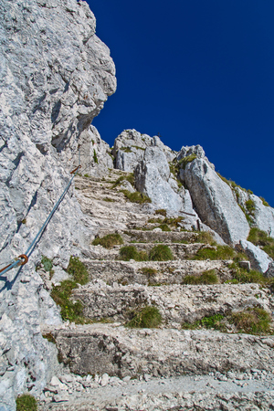 Stairs made on the rock in the World War one on Batognica, Julian Alps, Krn, Slovenia