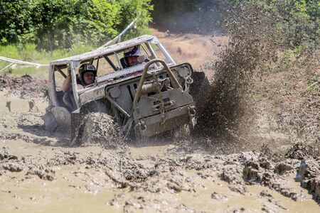 Rence, Slovenia - May 28, 2017: Off road car race in the mud, 4x4 vechile on the rally race