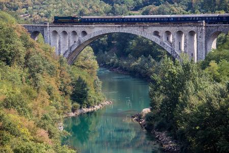 Diesel Train on Solkan Bridge, Solkan, Nova Gorica, Slovenia