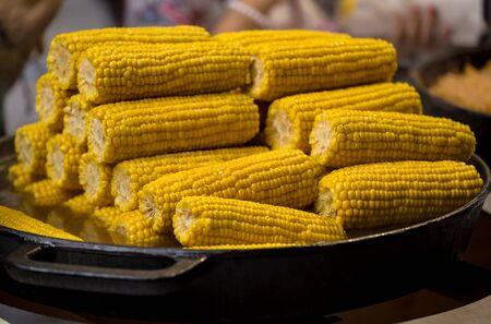 Boiled corn in a metal pan