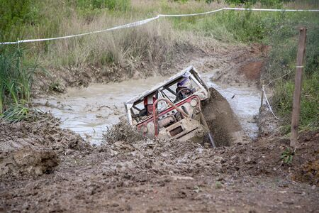 Off road vehicle in the deep mud